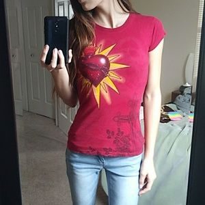 Flaming Heart T Shirt